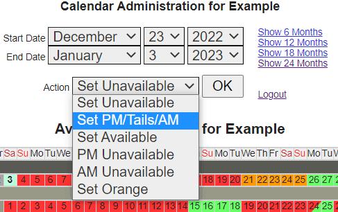 updating a calendar
